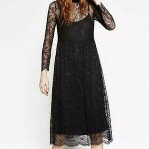Zara. Lace, long sleeve midi dress.